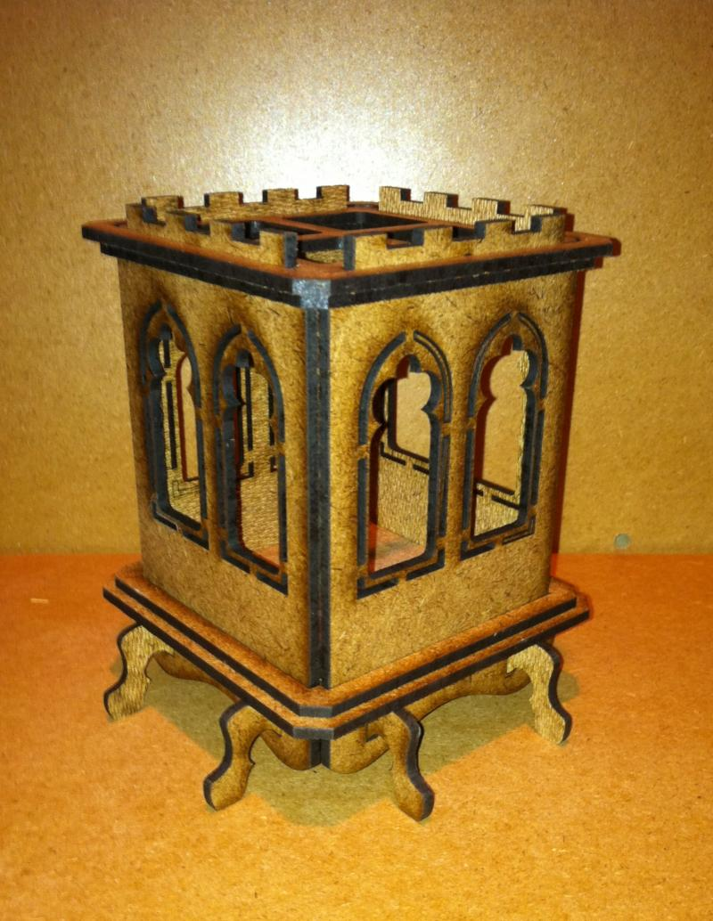 Gothic Castle pencil box can also be used with tea light candles